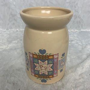 Beige Country Quilt Ceramic Milk Jug Vintage Taiwa